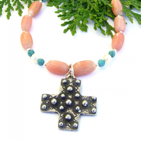 Spanish Cross Handmade Necklace, Coral Turquoise Pearls Gemstone Artisan Jewelry