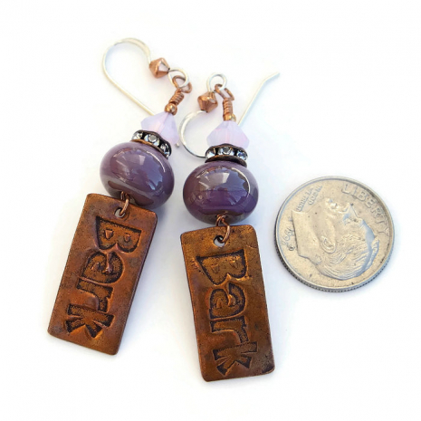 Beautiful handmade copper and purple dog rescue jewelry.