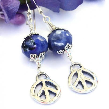 Rustic sterling peace sign and blue sodalite handmade artisan earrings.