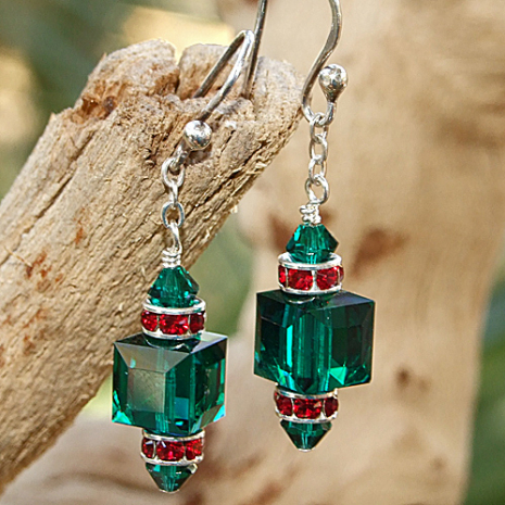 Green and red Swarovski crystal handmade Christmas earrings.