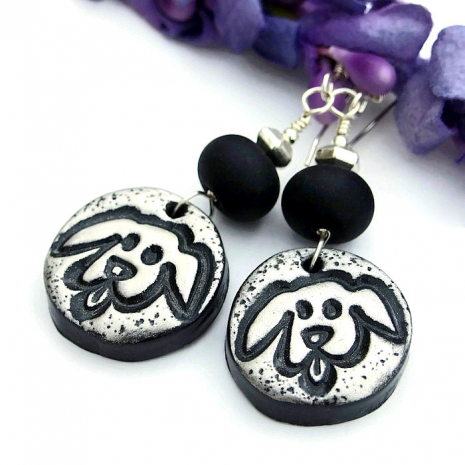 Unique handmade dog rescue earrings with a goofy dog.