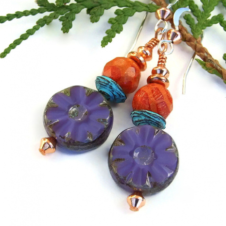 Unique purple flower and orange sponge coral handmade earrings.