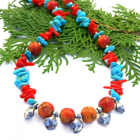 Unique Southwest handmade necklace with turquoise, coral and Thai fine silver.