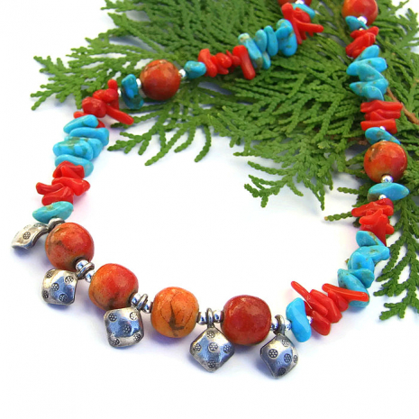 Thai fine silver, turquoise and coral handmade Southwest style necklace.