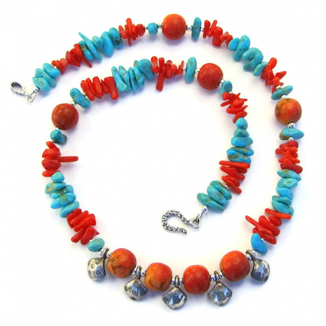 Artisan necklace with blue turquoise, apple coral, red coral and Thai silver
