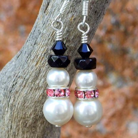 Handmade breast cancer survivor snowmen earrings with pink.