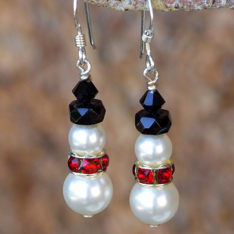 Handmade Christmas snowmen earrings created with Swarovski pearls and crystals