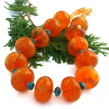 Chunky amber copal and turquoise handmade statement necklace.