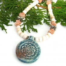 One of a kind lotus flower pendant necklace with shell.