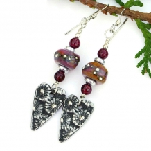 One of a kind fashion flower hearts earrings with lampwork glass.