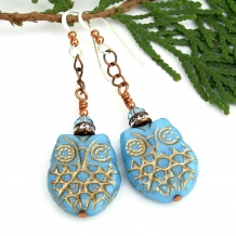 Long and dangly one of a kind Czech glass owl earrings with crystals.