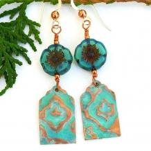 One of a kind sage green and copper handmade boho earrings.