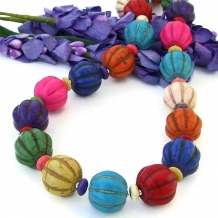 One of a kind magnesite handmade necklace for when you need a pop of color!