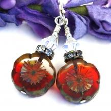 Christmas red flower earrings