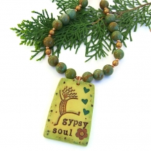 One of a kind Gypsy Soul handmade pendant necklace.