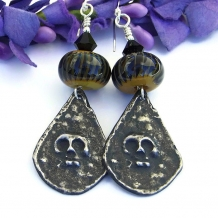 One of a kind Goth skull handmade earrings for Halloween or Day of the Dead.