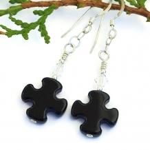 One of a kind black onyx and Swarovski crystal handmade earrings.