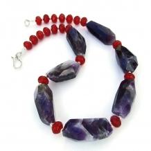 Chevron amethyst and ruby quartz gemstone necklace.