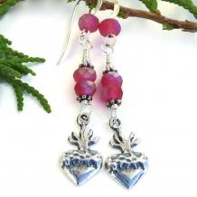 One of a kind milagro heart handmade earrings.