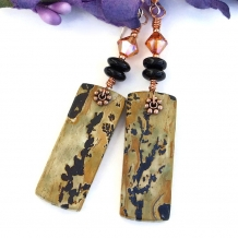 One of a kind nature's paintbrush jasper and black onyx earrings.