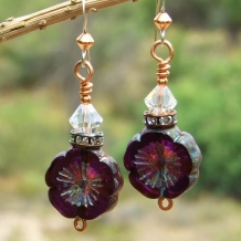 One of a kind purple pansy flower and crystals handmade earrings.