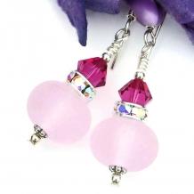Handmade pink Valentine's Day earrings.