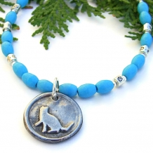 One of a kind purrfect cat pendant necklace with turquoise magnesite.