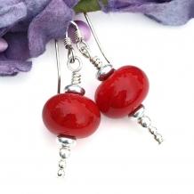 Christmas red handmade earrings.