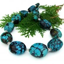 Unique handmade turquoise statement necklace.