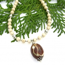 Brown septarian and riverstone handmade necklace
