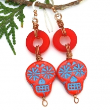 One of a kind red and turquoise Day of the Dead sugar skull earrings.