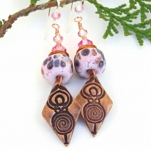 One of a kind spiral goddess copper charm and rustic pink lampwork earrings.