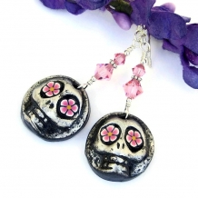 Unique Day of the Dead sugar skull handmade earrings with crystals.