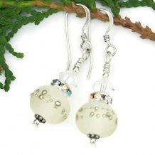 Frosted white lampwork and crystal wedding earrings.