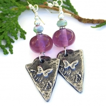One of a kind butterfly charm and purple amethyst lampwork handmade earrings.