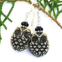 trendy handmade owl earrings