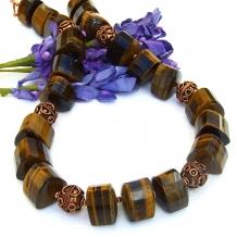 Chunky golden tigers eye handmade gemstone necklace.