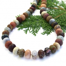 Unique mixed gemstone handmade necklace with sterling silver.