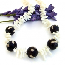 Unique African batik bone bead and white coral handmade necklace.