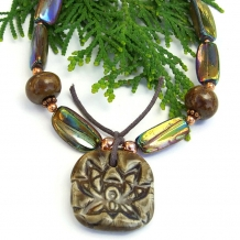 One of a kind handmade lotus flower yoga pendant necklace.