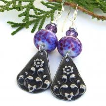 Unique flower charm, purple lampwork and amethyst handmade earrings.