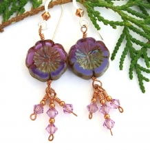 Unique purple pansy flower earrings with Swarovski crystals.