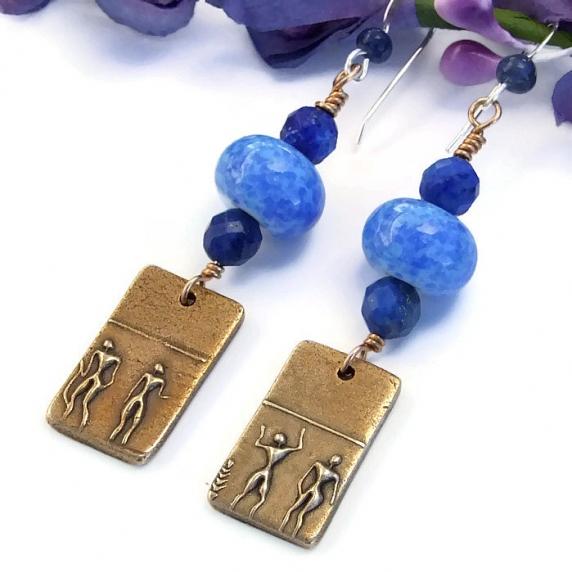 http://shadowdogdesigns.indiemade.com/gallery/image/under-blue-desert-sky-bronze-tribal-earrings-lampwork-and-lapis-lazuli-0
