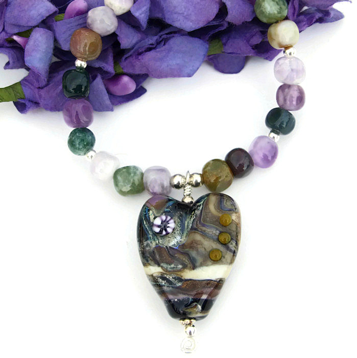 valentines lwork necklace handmade gemstone
