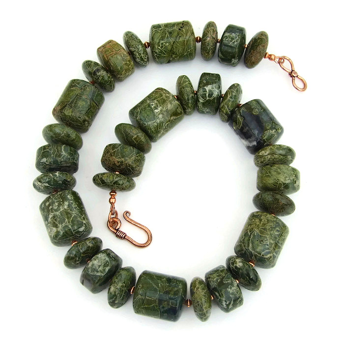 green serpentine handmade chunky necklace gemstone beaded