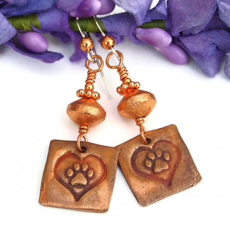 One of a kind copper dog rescue handmade earrings.