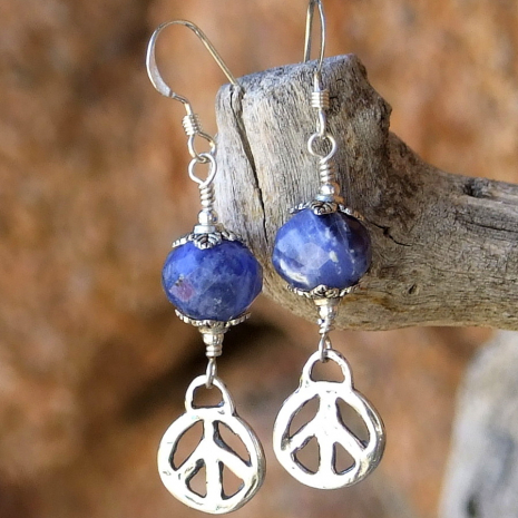 """Give Peace a Chance"" artisan peace sign and sodalite gemstone earrings."