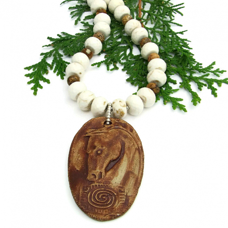 One of a kind Spirit Horse and Spiral Handmade Necklace By Catherine of Shadow Dog Designs.