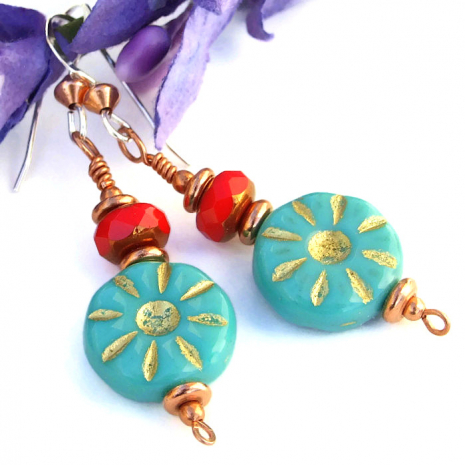 Southwest inspired handmade earrings created with turquoise Czech glass flowers